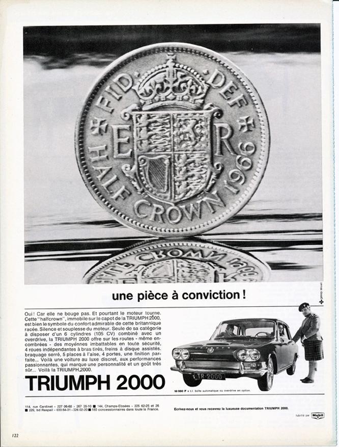 Triumph 2000, Advertisement, Connaissance des arts