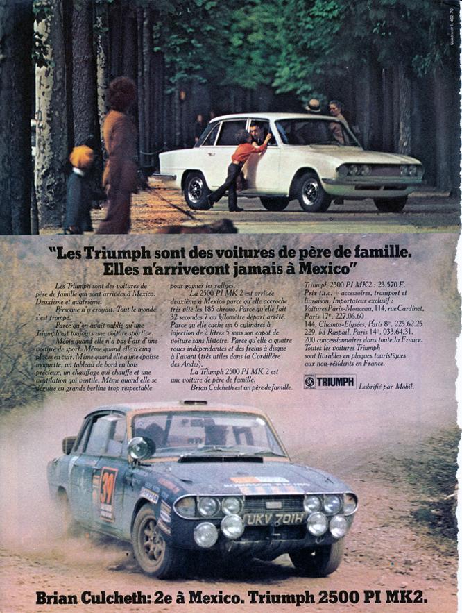 Triumph 2500 PI MK2, Advertisement, Connaissance des arts