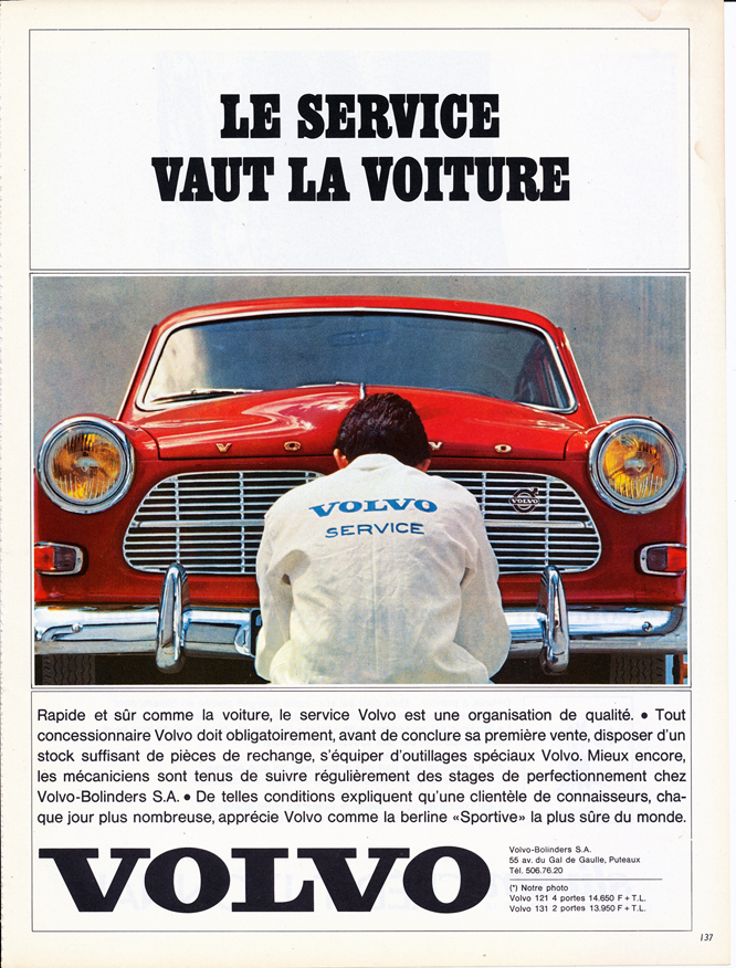 Volvo Amazon, Advertisement, Connaissance des arts