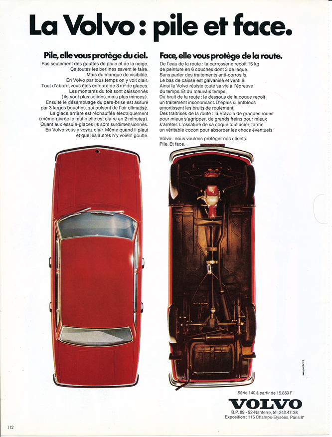 Volvo 144, Advertisement, Connaissance des arts
