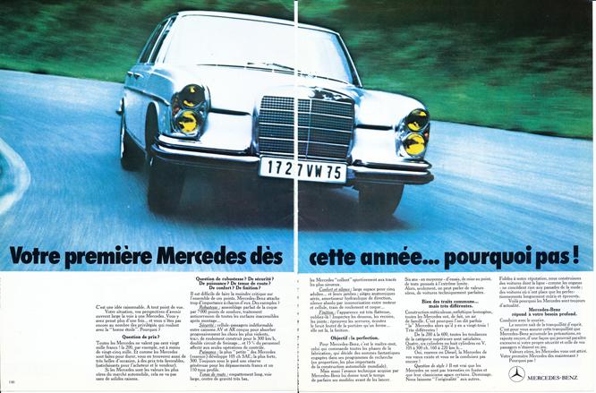 Mercedes Benz W108, Advertisement, Connaissance des arts