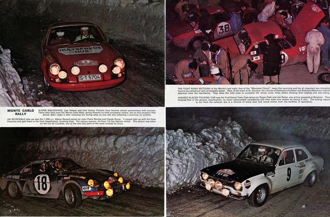 1970 Monte Carlo Rally, 2 page spread MotorSport Magazine