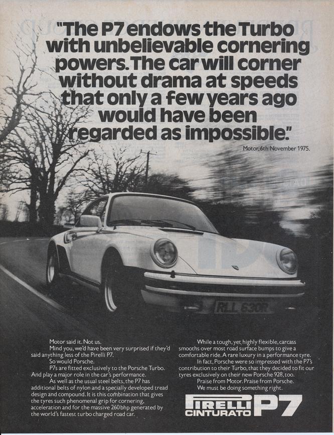 Pirelli P7, Martini Porsche Turbo Ad MotorSport May 1978