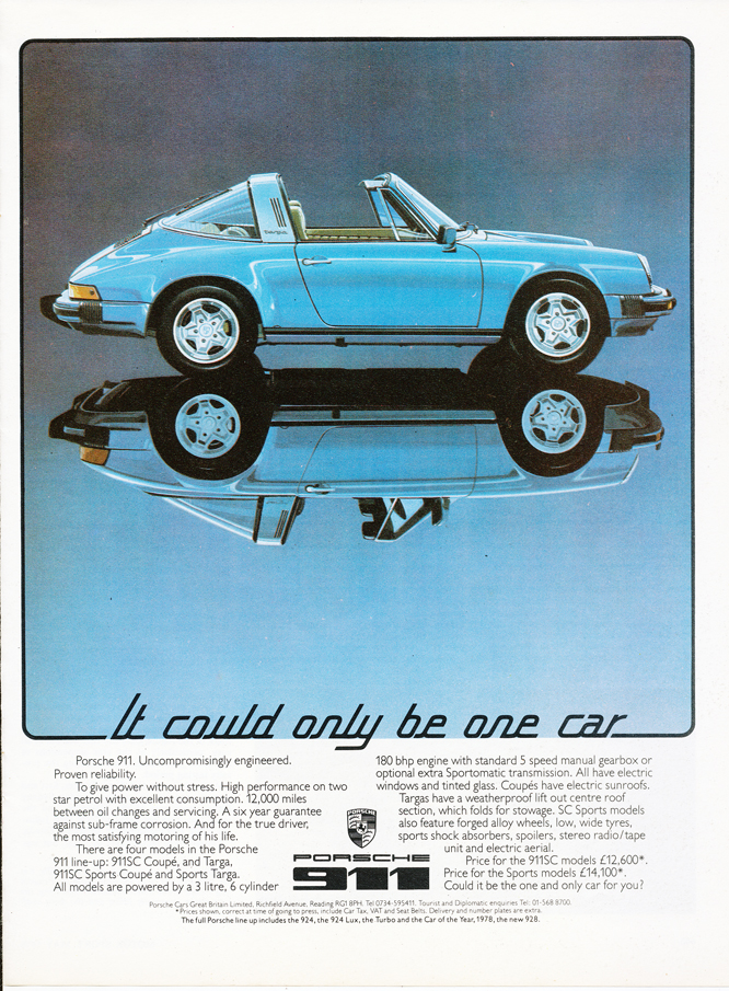Porsche 911 SC Targa ad, MotorSport Magazine 1978