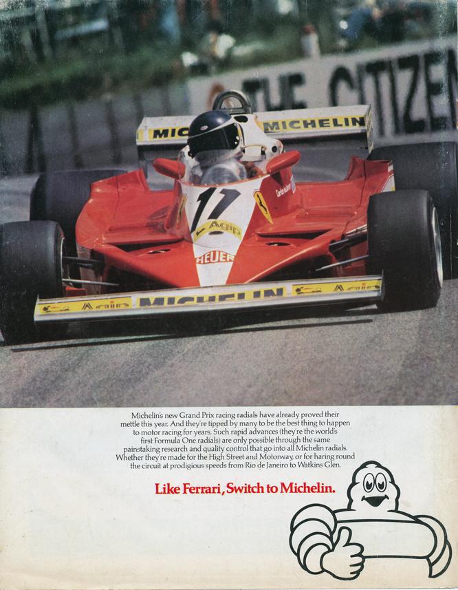 Michelin Ad, Carlos Reutemann, Ferrari 312 T3, South African Grand Prix