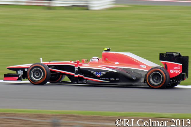 Marussia Cosworth MR02, Chilton, British GP P2, Silverstone