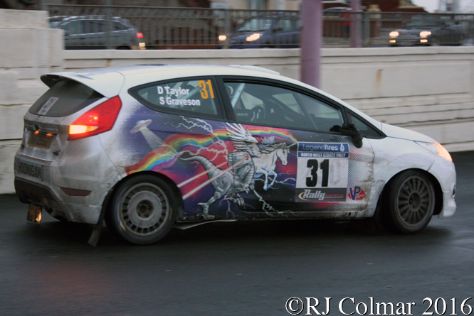 Ford Fiesta, Duncan Taylor, Steven Grayson, Legend Fires North West Stages, Legend Fires North West Stages, Blackpool Promenade,