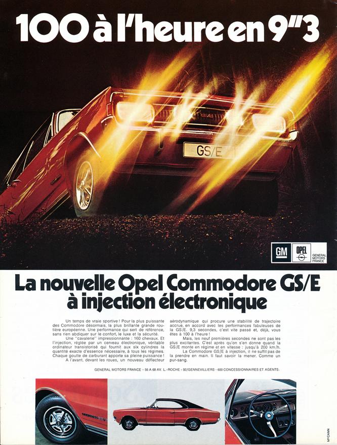 Opel, Commodore, GS/E, Advertisement, Connaissance des arts