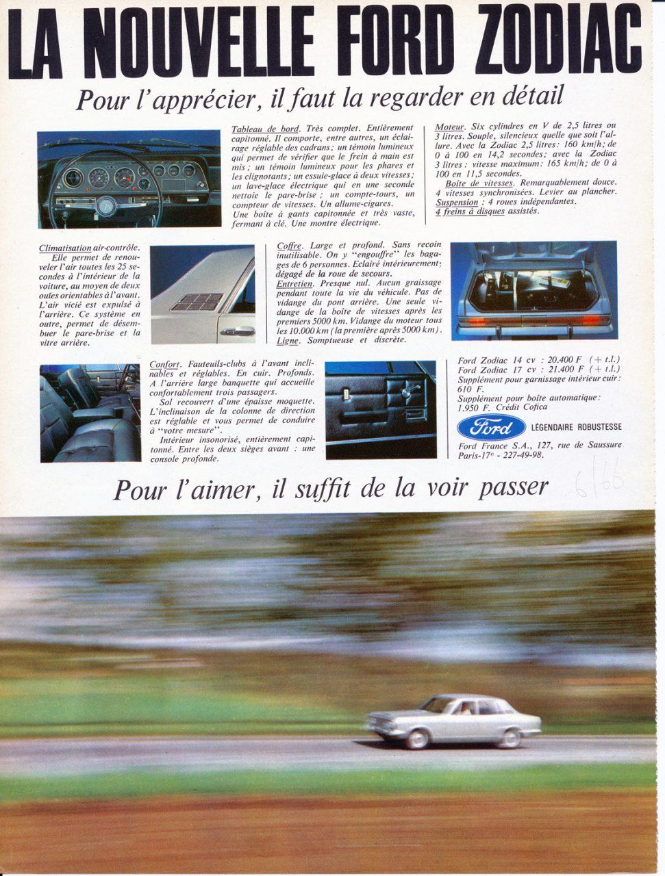 Ford Zodiac, Advertisement, Connaissance des arts