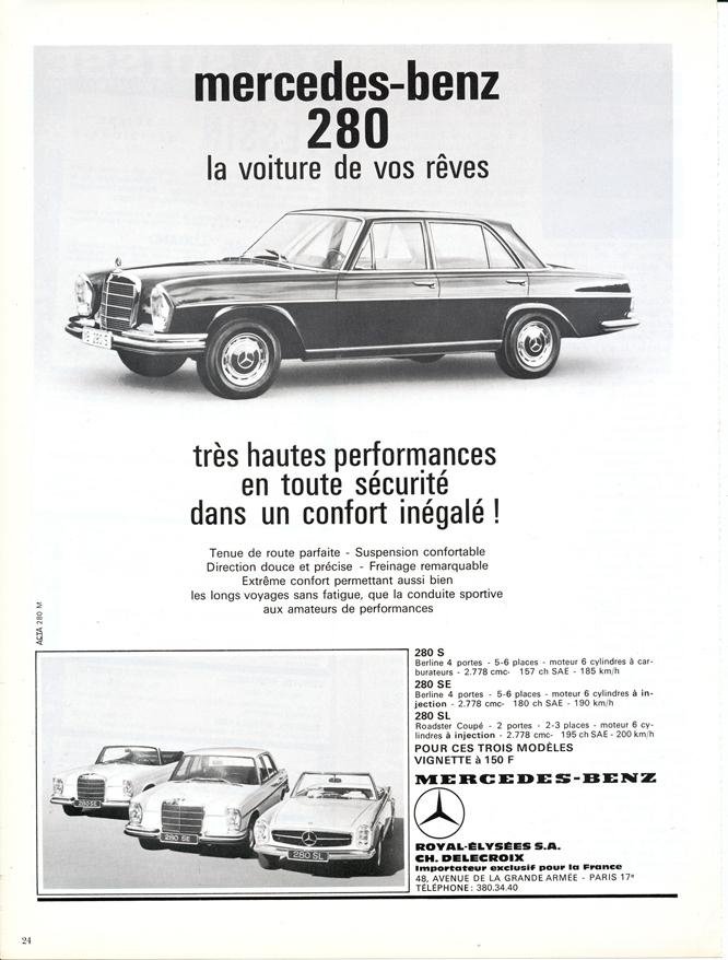 Mercedes Benz 280, Advertisement, Connaissance des arts