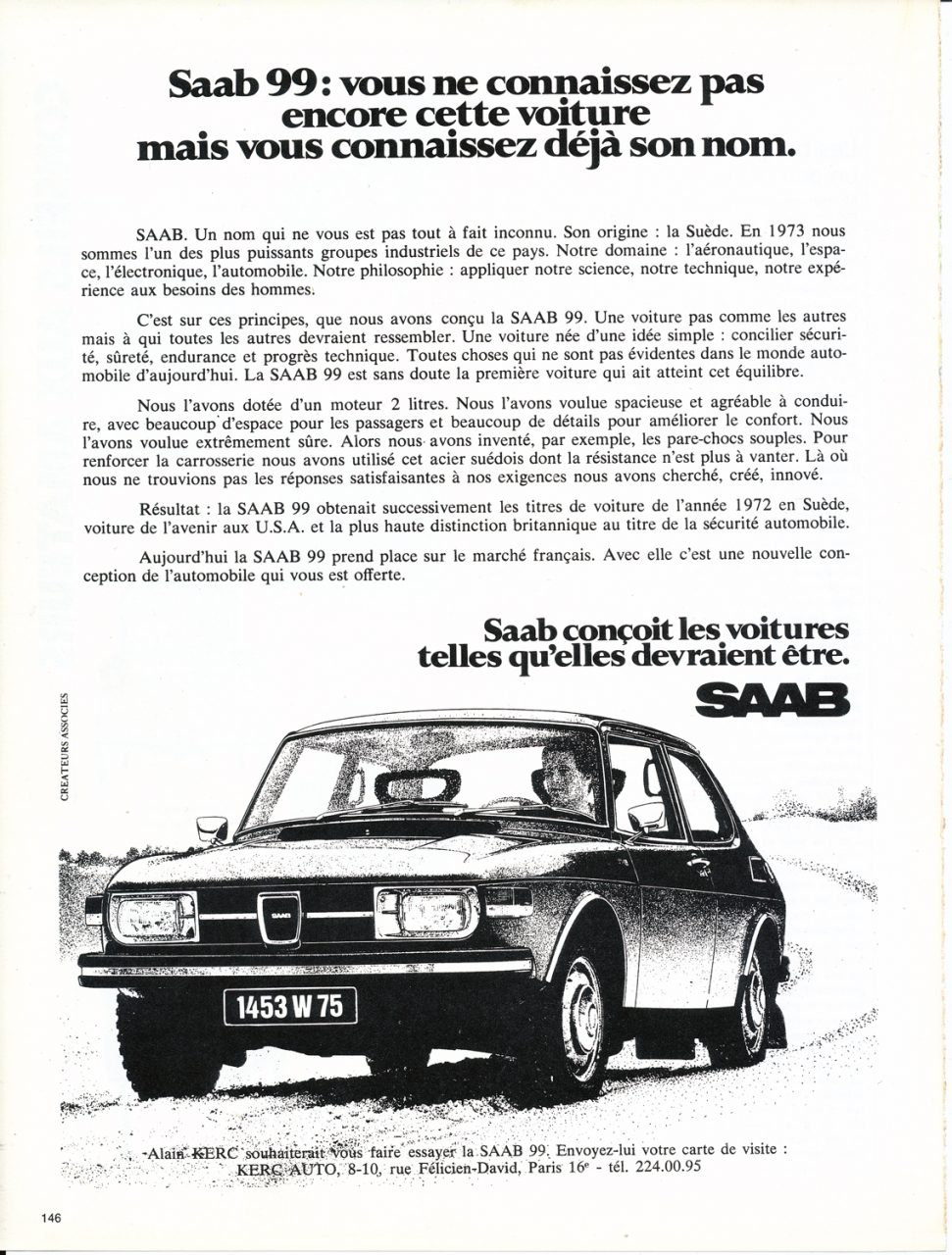 Saab 99, Advertisement, Connaissance des arts