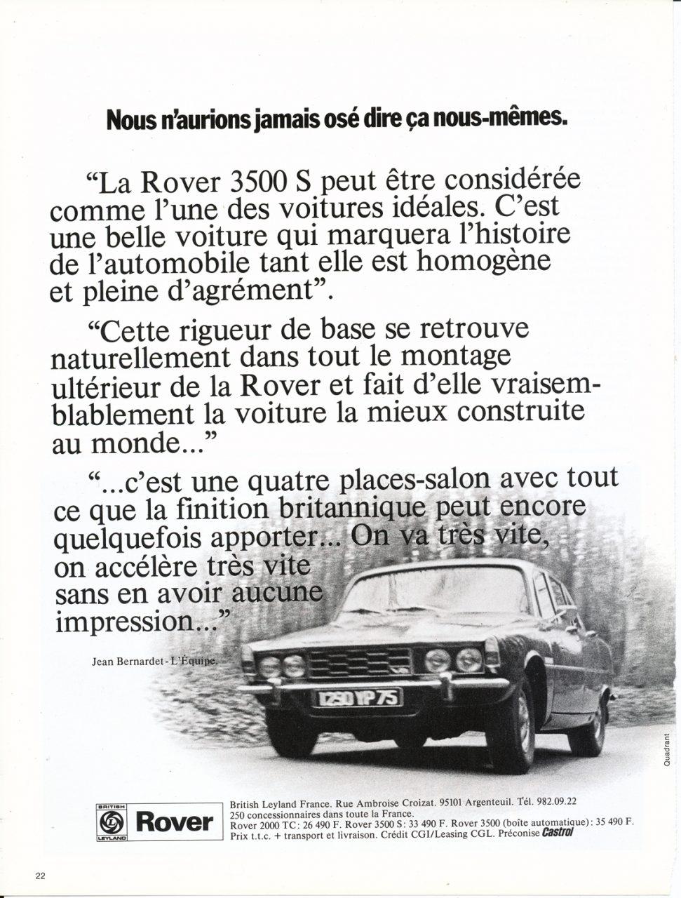 Rover 3500S, Advertisement, Connaissance des arts