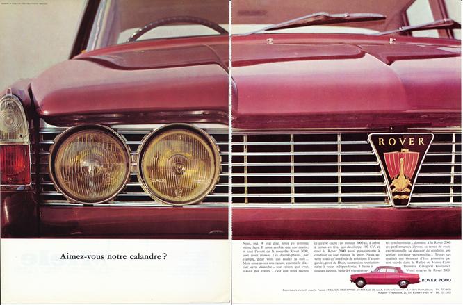Rover 2000, Advertisement, Connaissance des arts