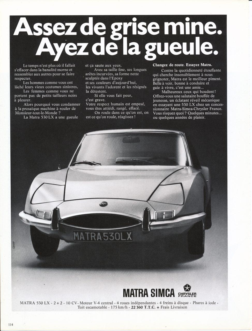 MATRA 530 LX, Advertisement, Connaissance des arts