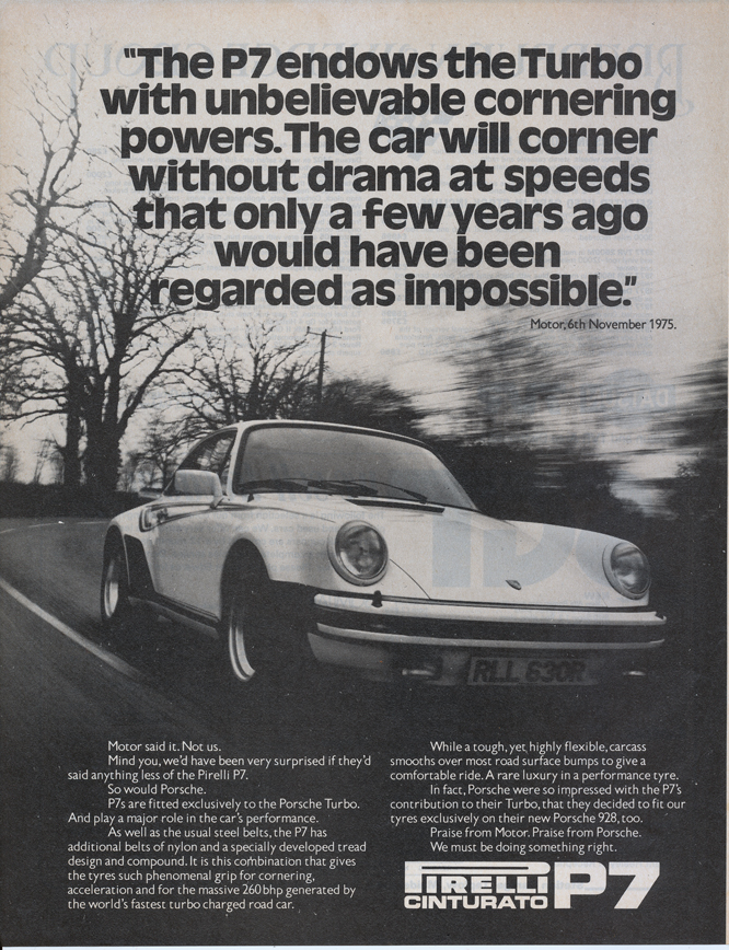 Pirelli P7, Martini Porsche Turbo Ad MotorSport May 1978
