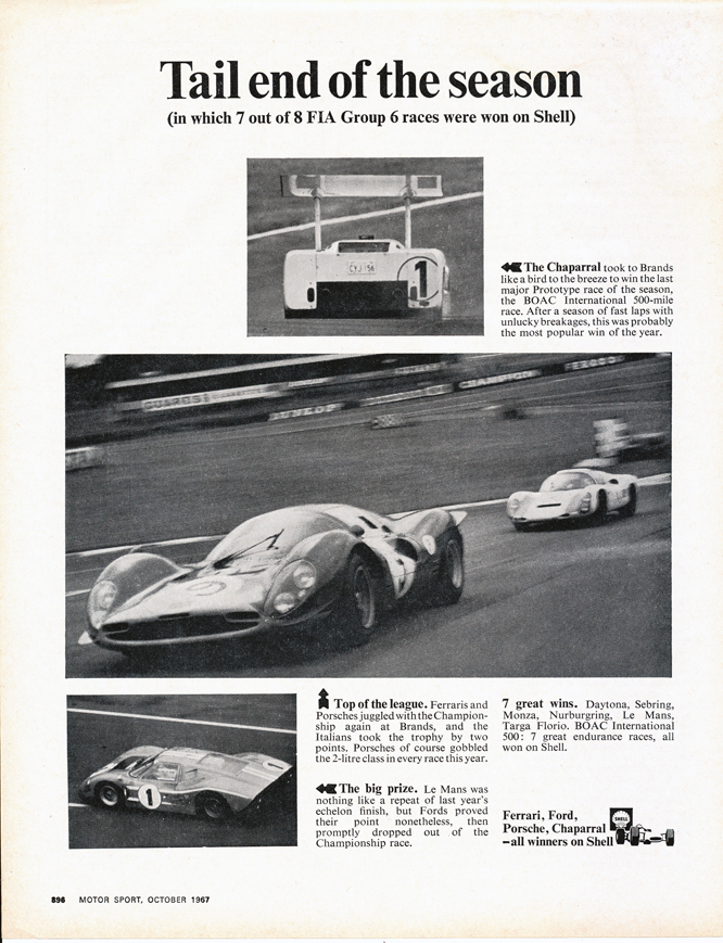 Shell Advertisement, Chaparral, Ferrari, Ford,Porsche,
