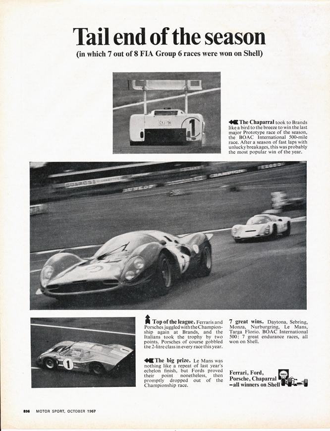 Shell Advertisement, Chaparral, Ferrari, Ford,Porsche,