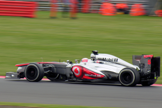 McLaren Mercedes MP4-28, Button, British GP P2, Silverstone