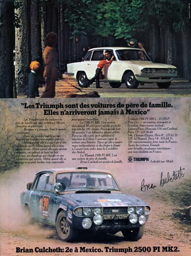 Triumph 2500 PI Mk2, Lloyd Hirst, Englefield, Baker, 1970 Daily Mirror World Cup Rally,