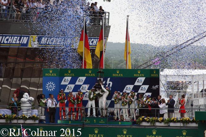 Le Mans LMP1 Podium, Ickx, Tréluyer, Lötterer, Fässler, Tandy, Bamber, Hülkenberg, Webber, Hartley, Bernhard,