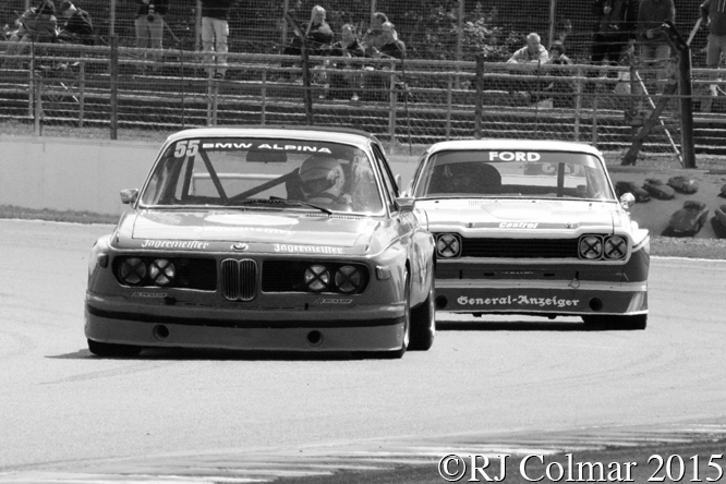 BMW 3.0 CSL, Peter Mullen, Ford Cologne Capri, Rick Wood, Silverstone Classic